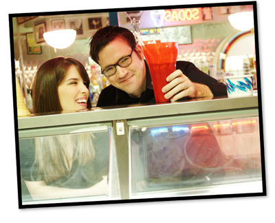 Shawn and Gwenn smiling at an ice cream counter